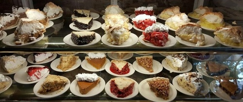 Pie case at Lange's Cafe & Bakery (photo by Erica Volkir)