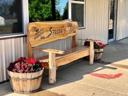 Bench outside Hatfield Roadhouse (photo by Erica Volkir)