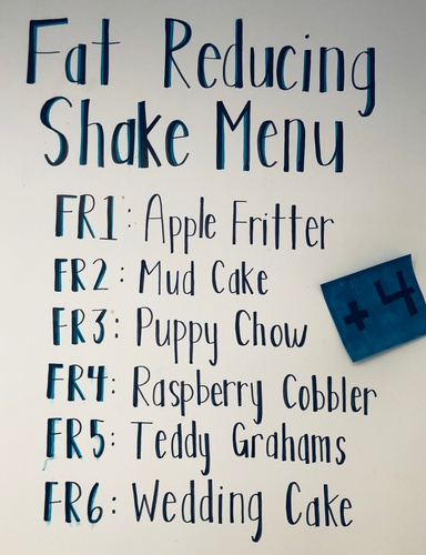 Menu - Fat Reducing Shakes
