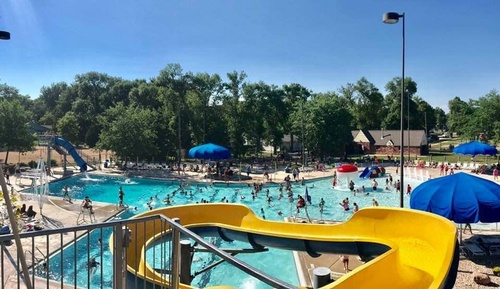 Water Slides at Pipestone Family Aquatic Center 2019 (photo by Pipestone County Star)