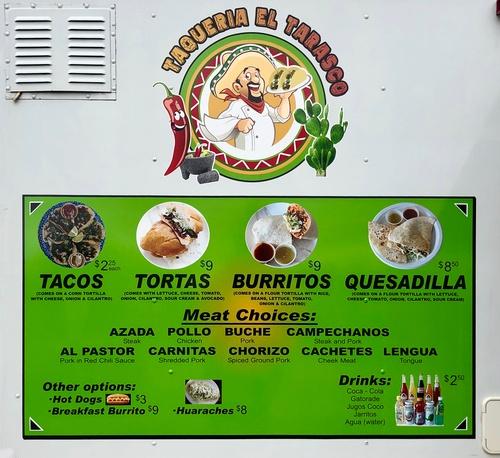 Menu at Taqueria El Tarasco Food Truck