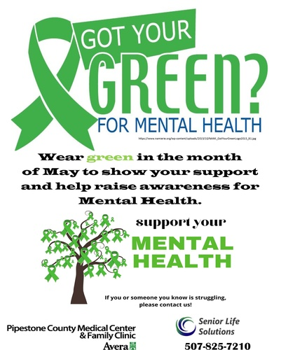 Wear Green in May to show your support and help raise awareness for Mental Health!