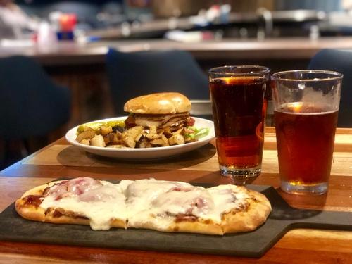 Flatbread Pizza & Pork Loin Sandwich & Beers by Erica Volkir