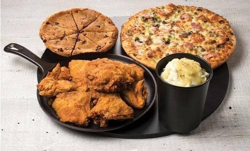 Pizza, Chicken, Potatoes, & Cookie