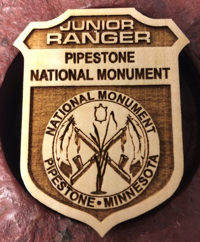 Pipestone National Monument Junior Ranger Badge - Photo by Erica Volkir