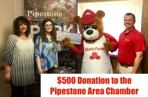 Michelle Cheeseman State Farm Agency Presents $500 Donation to Pipestone Area Chamber of Commerce