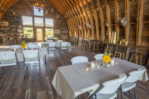 A barn transported to a beatiful venue space