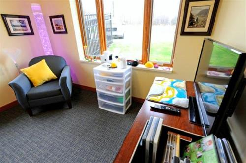 Multi-sensory room for residents to relax and connect with all five senses in The Willensky Residence.