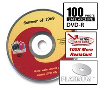 We use Platinum Archival DVD's rated to last 100 years