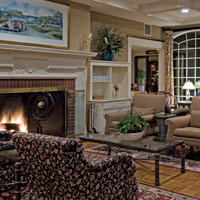 Many place to relax with a book or make new acquaintances. Here our upper lobby with fireplace.