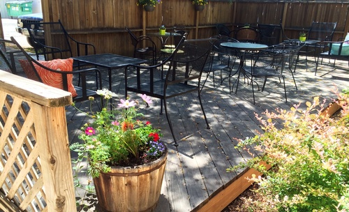 Enjoy our shady quiet garden patio with mellow coffee shop tunes.