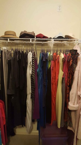 Women's walk-in closet After Room Solutions By Paula