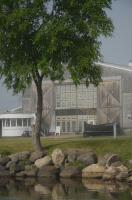 The Bayfield Maritime Museum in light fog from Bayfield Harbor.