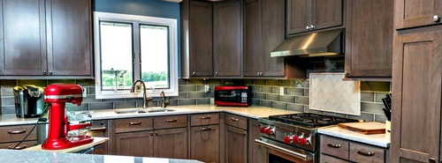 Gray wash cabinets make this kitchen special
