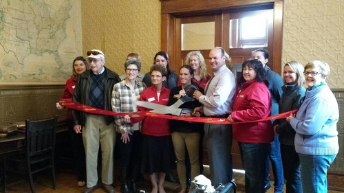 Ribbon cutting 1883 Stutsman County Courthouse