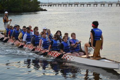 Dragon Boat team practicing in Charlotte Harbor