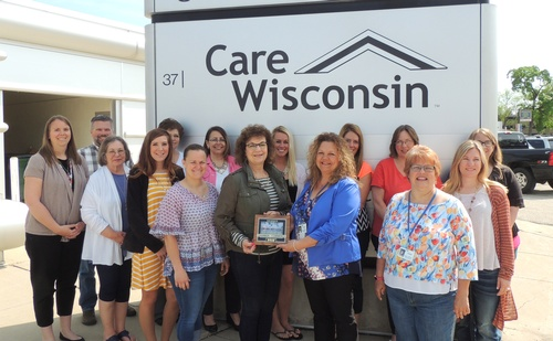 Staff members from the Fort Atkinson office during the Chamber Plaque Presentation