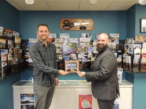 Ambassador Brandon Housley presents Barry with new member plaque