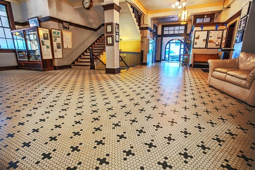 Historic Lobby interior with origina 1915 tile
