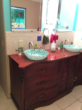 Stained Glass Vessel sinks Installed in Antique Dresser