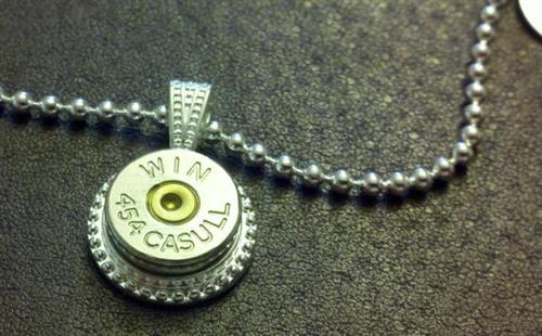 454 Casull casing pendant on silver plated ball chain