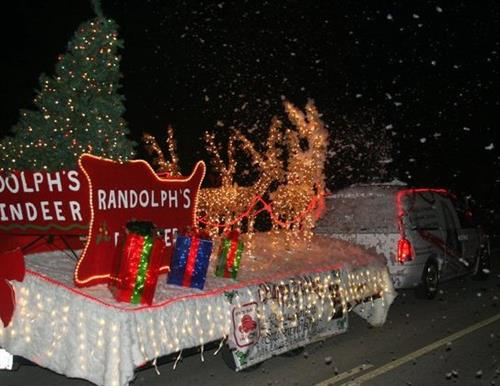 Randolph Reindeer float in the Christmas Parade