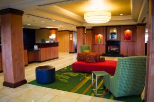 The lobby is bright and lively, and offers guests plenty of space to gather, work and relax.