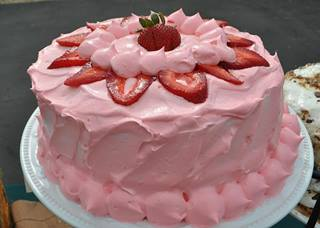 Custom Catering's Homemade Strawberry Cake