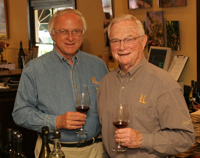 Louis Lucas and Royce Lewellen in the tasting room