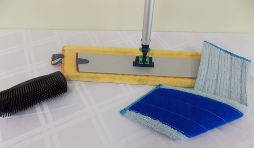 The Superior Mop System cleans floor quickly & easily using only Norwex Microfiber & water.
