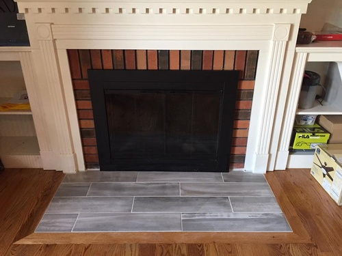 Love this newly installed fireplace tile!