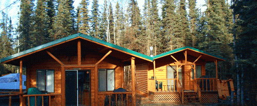 3 riverside log cabins to rent with kitchens, gas fireplace, full bath, deck, etc.