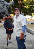 Member Tim Lowry donates concrete to repair the church sidewalk