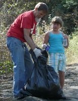 Cleaning up Tubbs Hill on a Sunday morning
