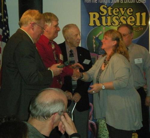 Veterans Memorial Committee receiving Military Service Award