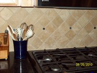 Natural Stone Backsplash on Diagonal