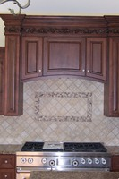 Natural Stone Backsplash with Tile Picture Frame