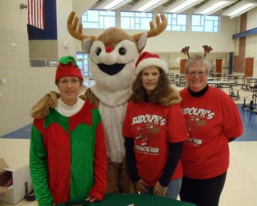 Rudolph & helpers at Rudolph's Red Nose Run