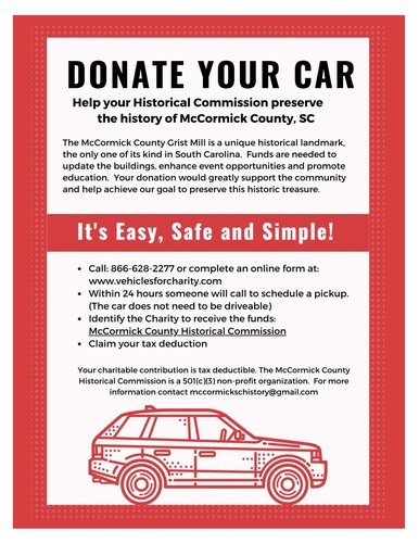 Donate Vehicles to the McCormick County Historical Commission