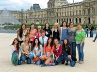 Mrs T and Company Girls in front of the Louvre Summer 2012