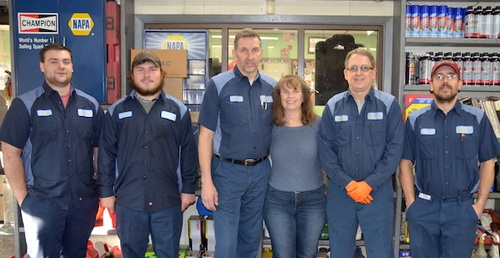Our team (from left): Noah, Jason, James, Lori, Mike, and Bud.