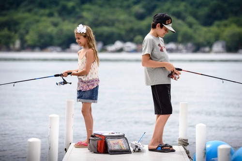 Fishing off the dock at Conesus Lake Campground