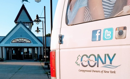 Delivering CONY magazines to a roadside rest area