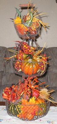 Fall Baskets on a Patio Stand - Click on ''Highlights'' then ''Plant Stands''