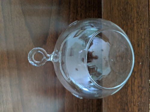 3'' Round Glass Globe, sits or hangs
