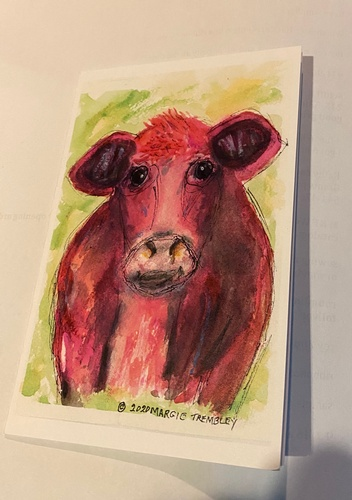 Moo, watercolor print greeting card 4x6 by Margie Trembley