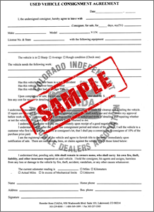 picture of 18 used vehicle consignment agreement duplicate