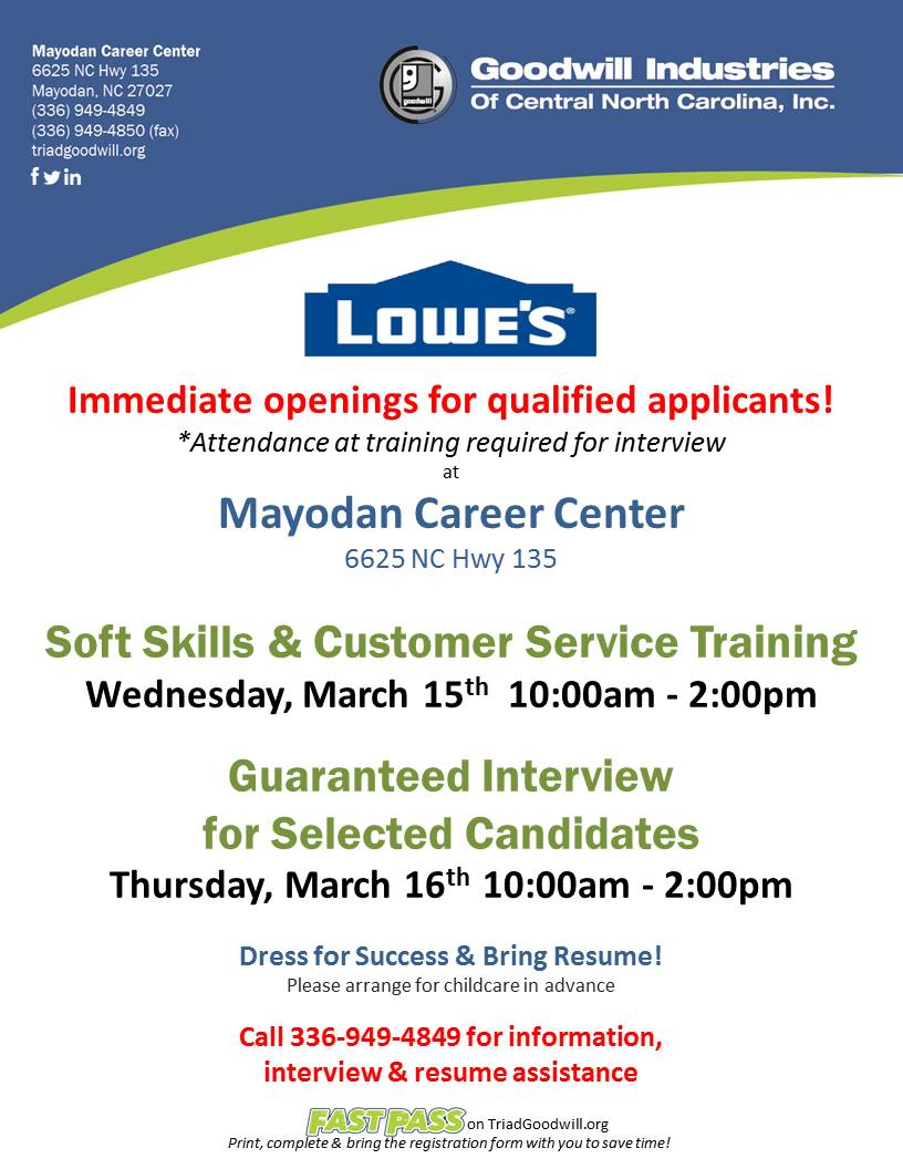 lowe s in odan hiring event mar to mar  lowe s in odan hiring event