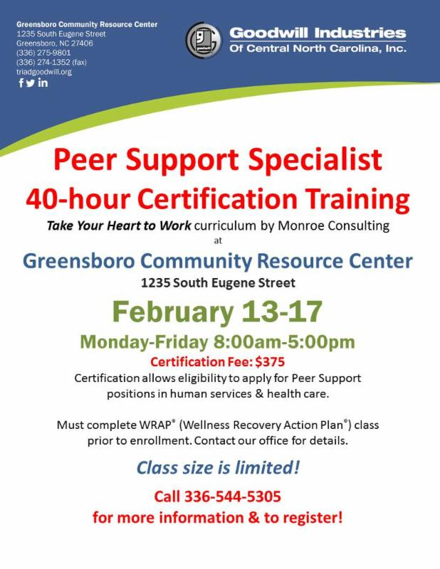 peer support specialist 40 hour certification training