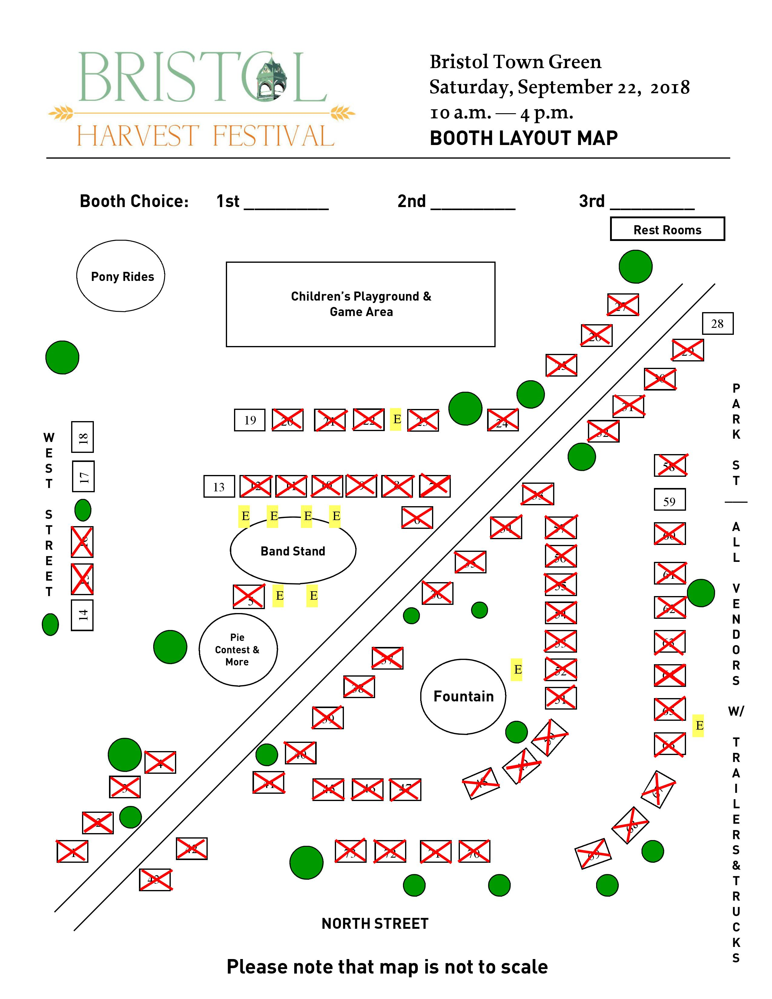 Map of vendor booths at Bristol Harvest Festival Bristol, VT